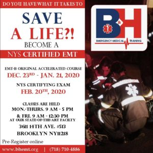 EMT ORIGINAL ACCELERATED DAY COURSE MON.-FRI. 12/23/19-1/21/20 (STATE EXAM 2/20/20) @ B&H EMERGENCY MEDICAL TRAINING