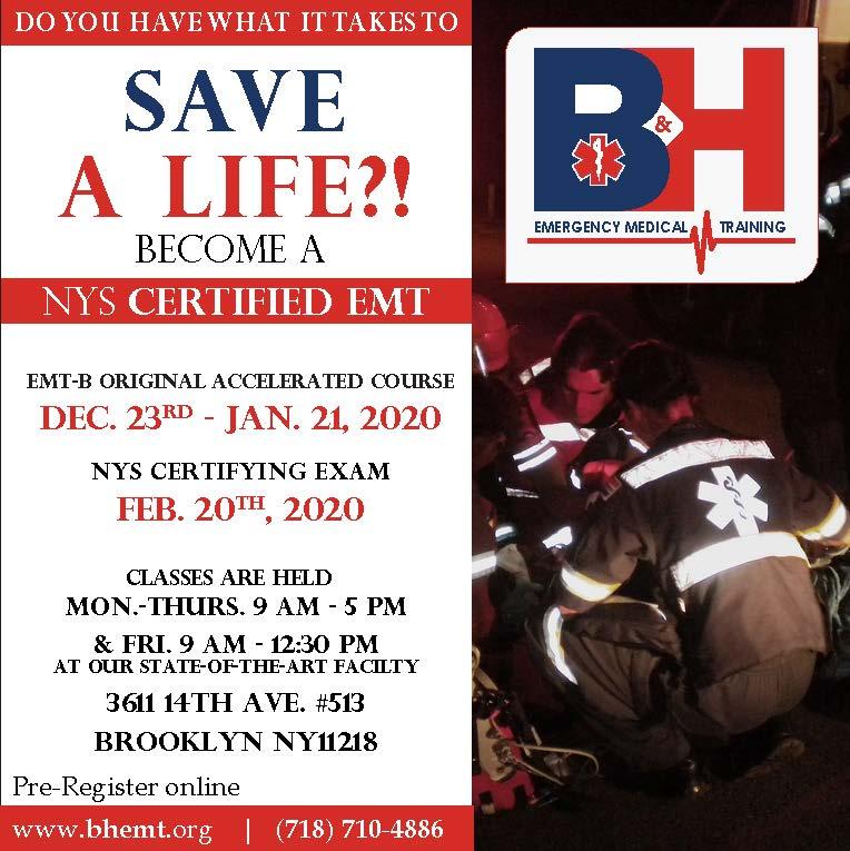 EMT ORIGINAL ACCELERATED DAY COURSE MON.-FRI. 12/23/19-1/21/20 (STATE EXAM 2/20/20)