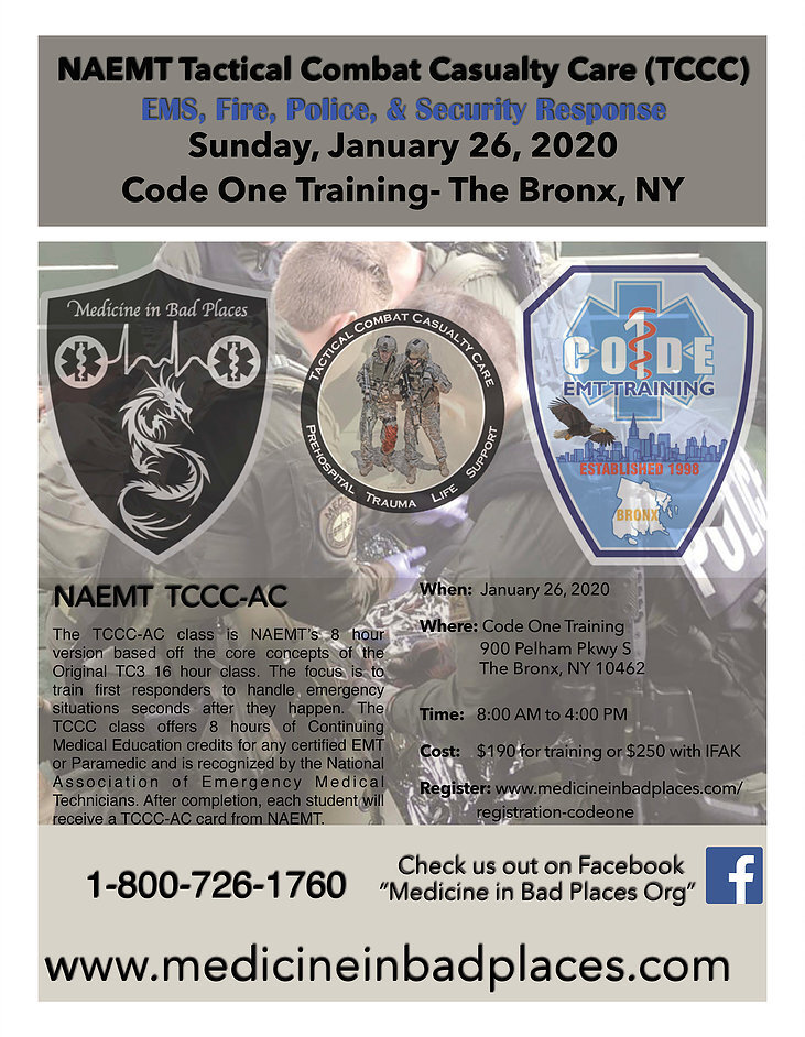 Code One Inc – Tactical Combat Casualty Care – 8 Hour – 01/26 – 8am – 4pm