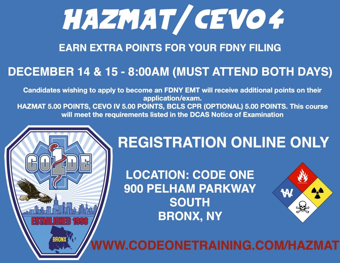 CODE ONE INC – HAZMAT CEVO 4 BLS COMBO COURSE – 12/14-12/15 – 8AM – 5PM