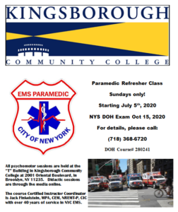 Paramedic Challenge Refresher Course @ Kingsborough Community College